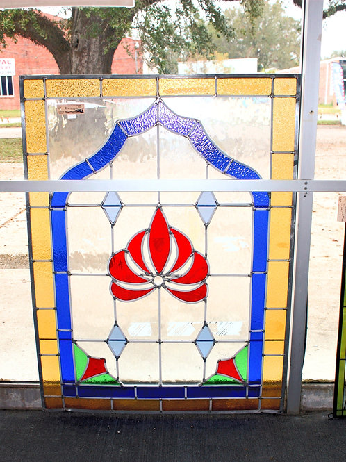 """34"""" x46"""" Stained Glass Red & Blue"""