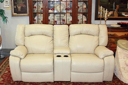 Tan Leather Reclining Love Seat Sofa