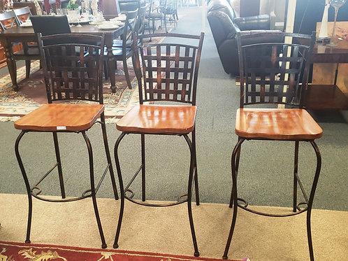 Wrought Iron Bar Stools - Set of 3