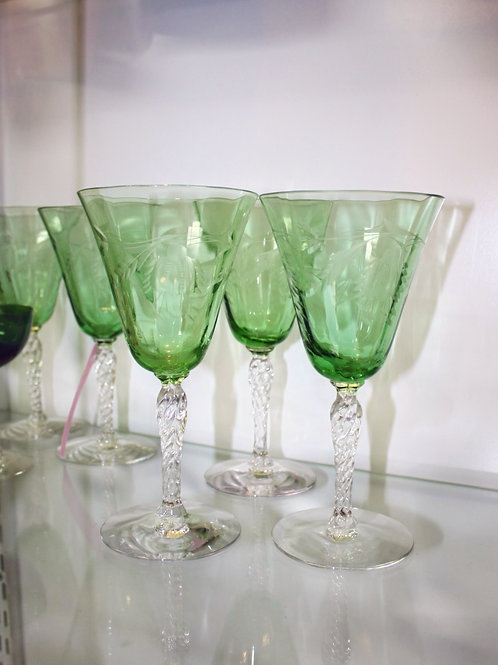 Eleven Glass Green Goblets
