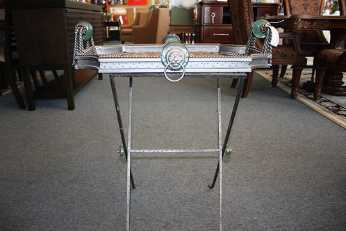 Silver Serving Tray w/ Green Glass Handles