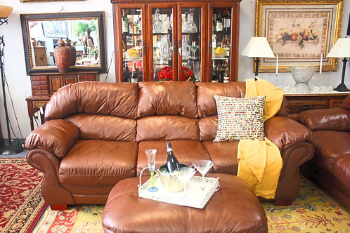 Leather Sofa Sleeper & Love Seat with Ottoman