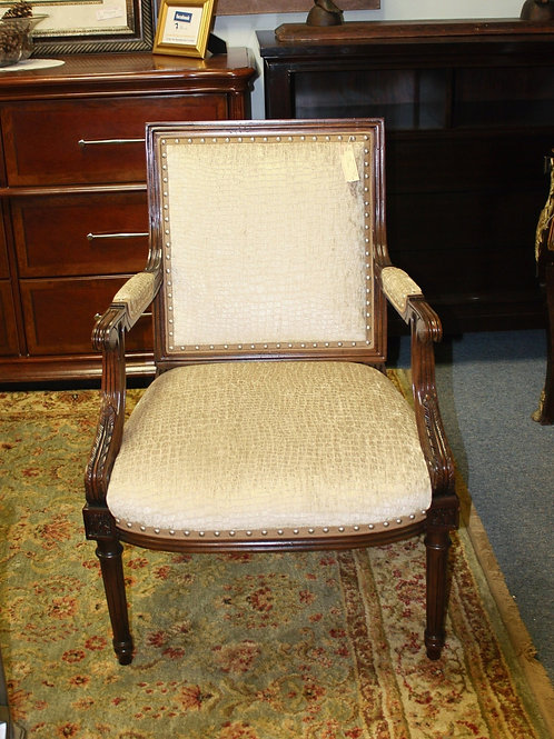 Cream Wooden Arm Chair