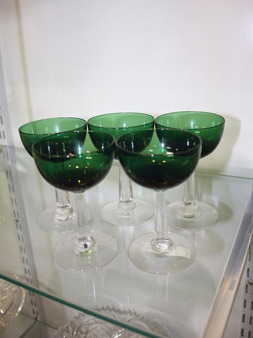 Set of Five Green Glass Stemware