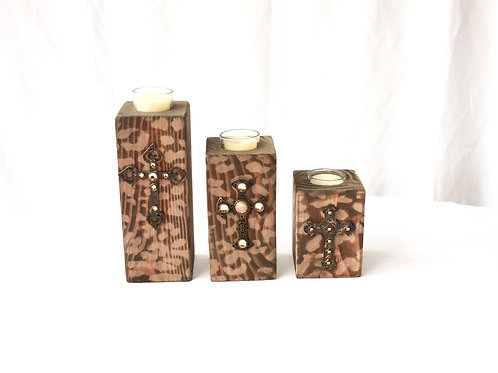 Wood Cross Candle Holders - Set of 3