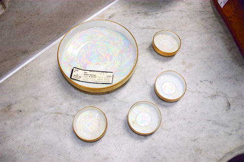 Antique Nippon Nut Set Gold & Mother of Pearl