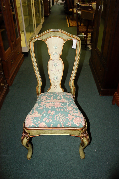 Antique Wood Teal & Pink Chair