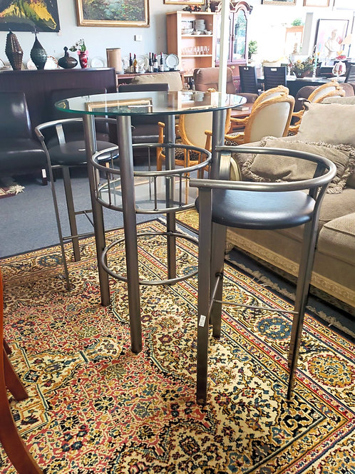 Modern Glass Bistro Table & 2 Chairs