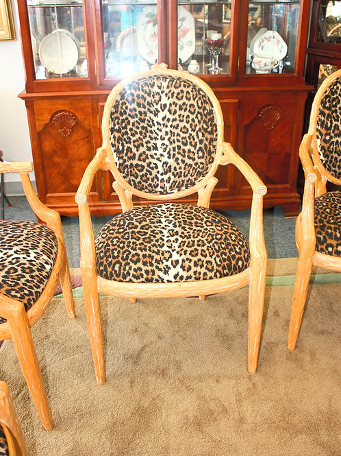 Leopard Print Wood Chairs Set of 6