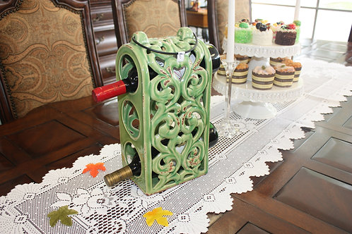 Green Scroll Ceramic Wine Bottle Holder