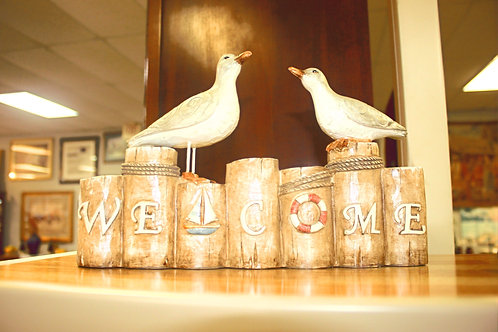 Beach Seagull Welcome Sign