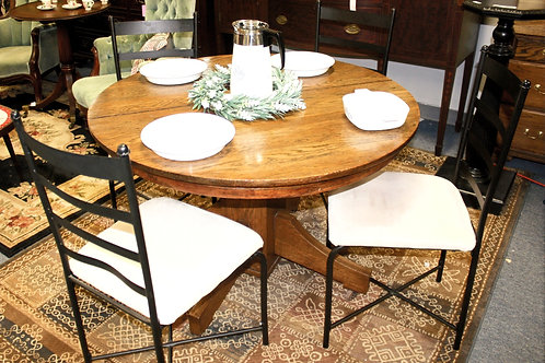 Round Solid Wood Kitchen Table & 4 Chairs