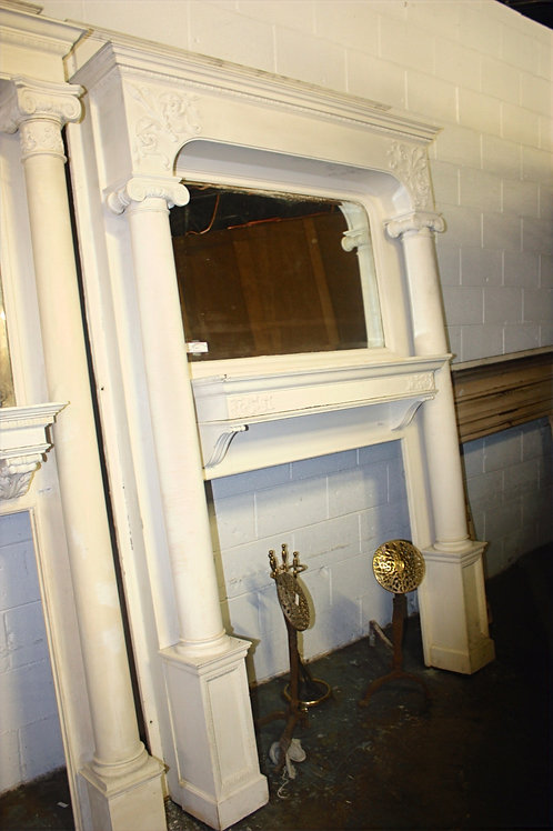 Antique White Fireplace Mantle with Mirror