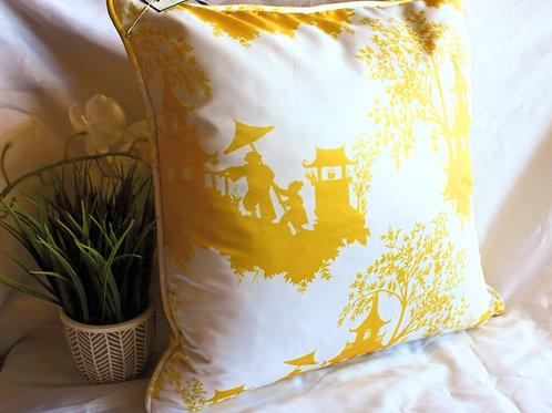 Yellow Chinoiserie Satin Pillow
