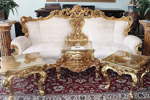 Gold & White Ornate Italian Sofa & Matching End Tables (Originally $35,000)
