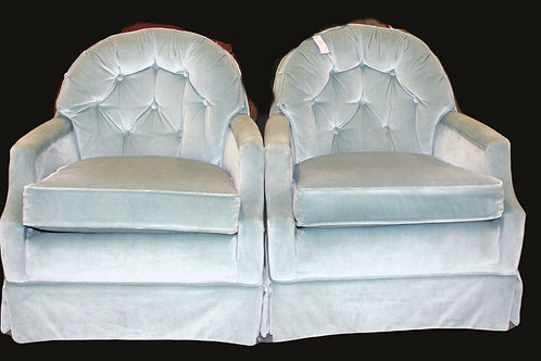 Vintage Tufted Light Blue Arm Chairs