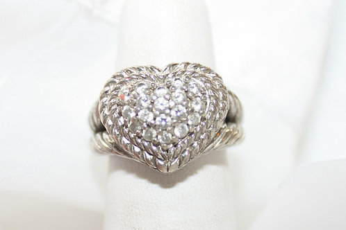 CZ Silver Heart Ring