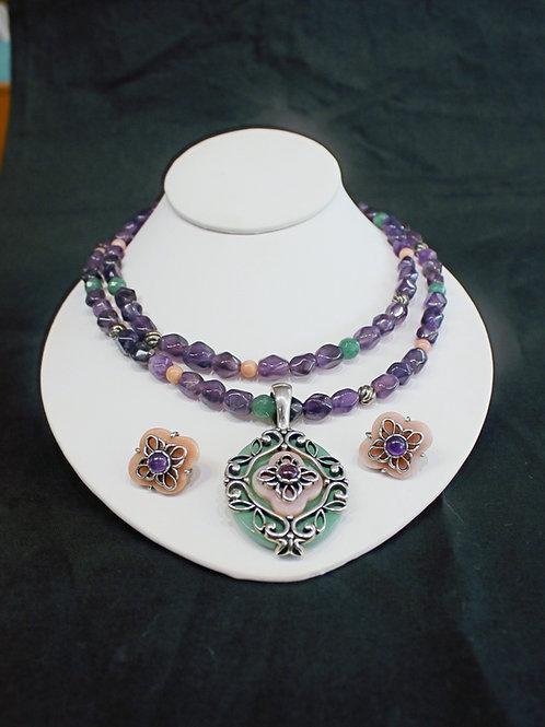 Carolyn Pollack Sterling Silver Amethyst & Jade Necklace, Pendant, & Earrings