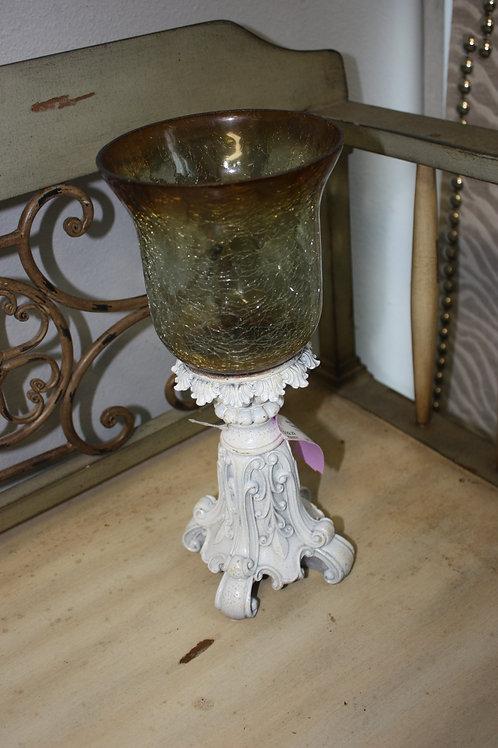 White Wash Candleholder w/Amber Glass