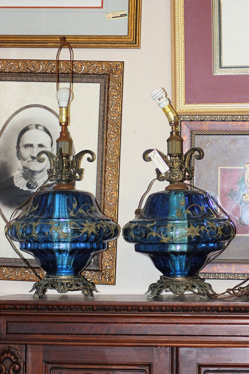 Mid-Century Blue Lamps - Set of 2