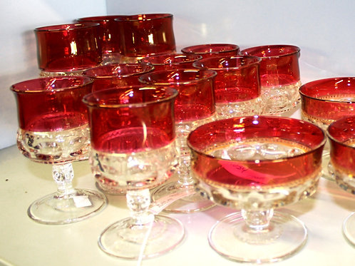 Set of 8 Red Water Glasses