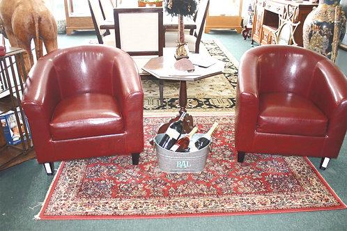 Club Chair Burgundy Set of 2