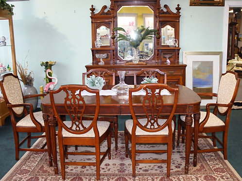 Antique #12 Dining Table w/6 Chairs & #7English Sideboard (priced separately)
