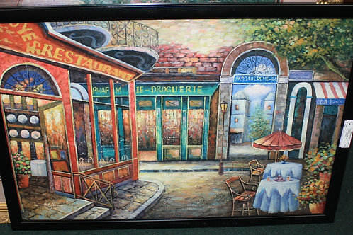 Framed Cafe Oil Painting