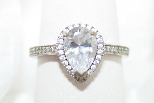Sterling Halo Pear Shape