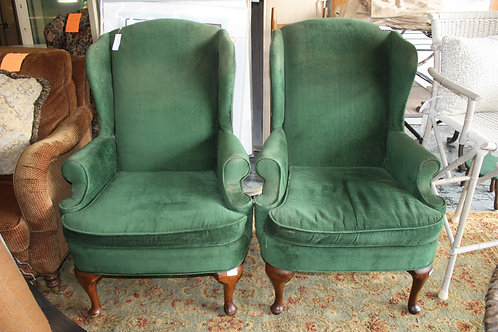 Kelly Green Wingback Chairs Set of 2