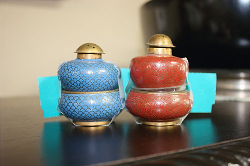Antique Cloisonne Salt & Pepper Shakers