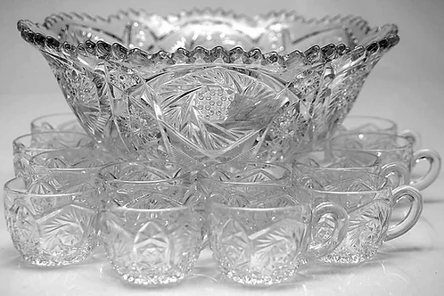 Whirling Star Glass Punch Bowl & 12 Cups