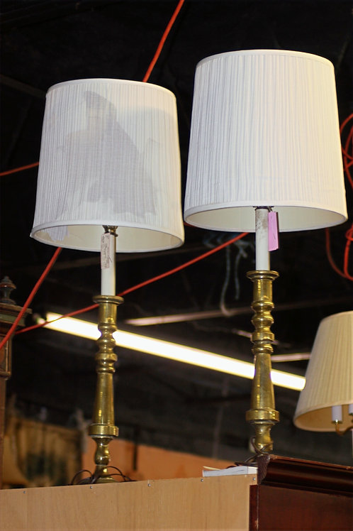 Tall Brass Lamps - Set of 2