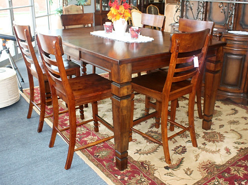 Solid Wood Kitchen Table & 6 Chairs