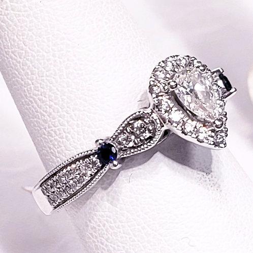 Vera Wang 14K Diamond & Sapphire Wedding Ring
