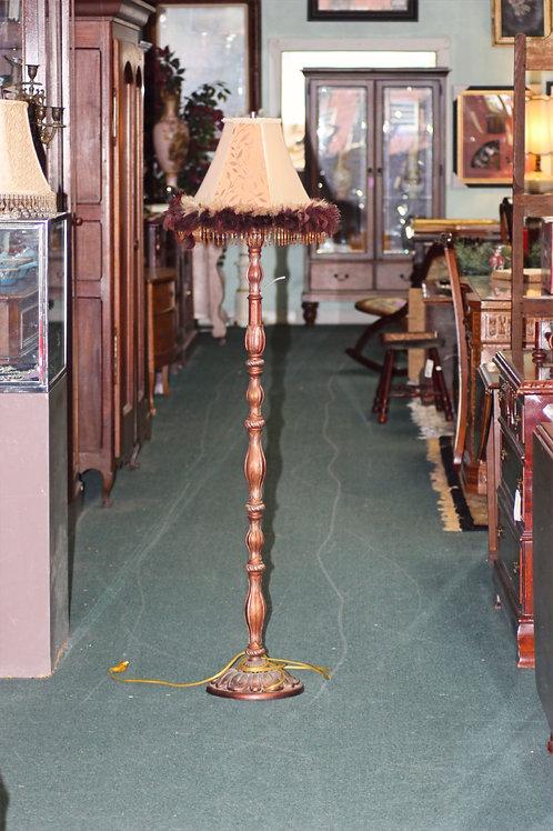 Feather & Beaded Copper Floor Lamp