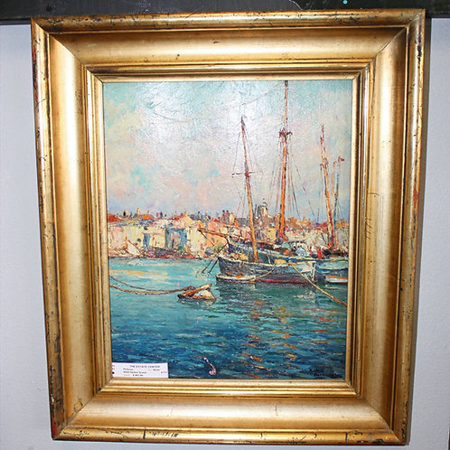 Antique Harbor Scene #204 Painting
