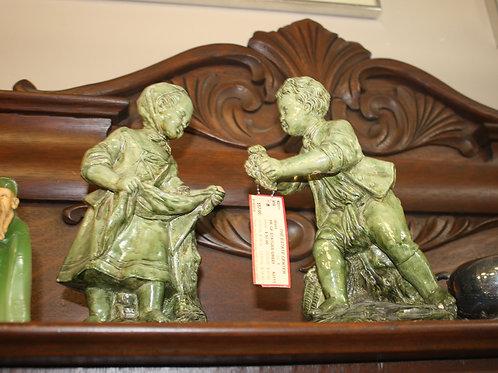 Antique Borghese Boy & Girl Green Statue