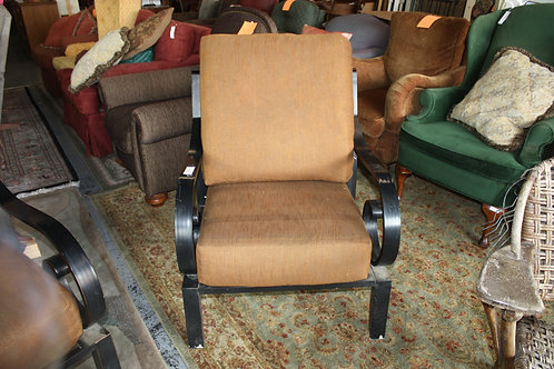 Black Aluminum Chairs with Brown Cushions Set of 2