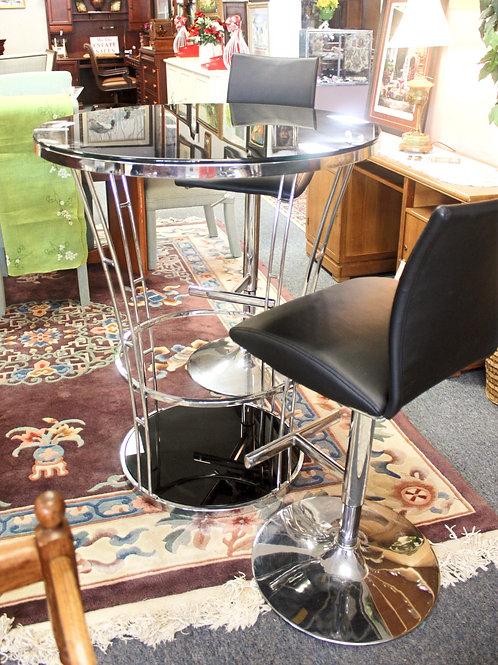 Silver & Black Pub Table & 2 Chairs