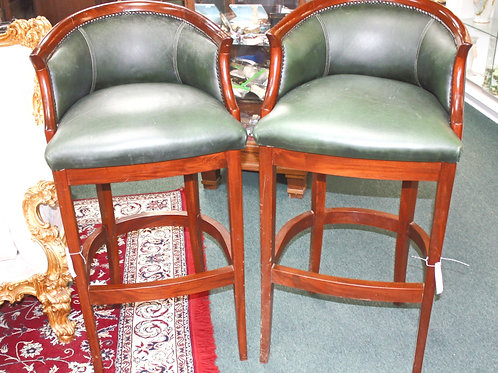 Green Leather Bar Stools - Set of 2