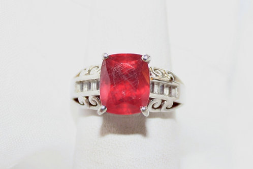 Red Spinal CZ Ring