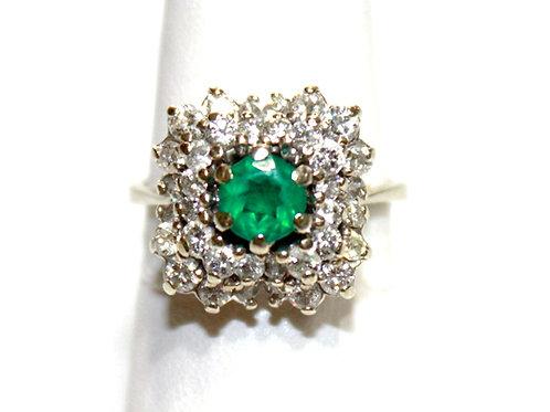 .75ct Diamond Emerald Ring 14K