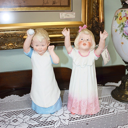 Boy & Girl Antique Bisque Dolls