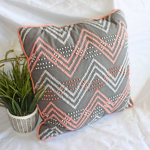 Chevron Gray & Coral Pillow