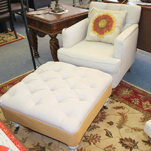 Tan Chair & Ottoman w/ Sunflower Pillow