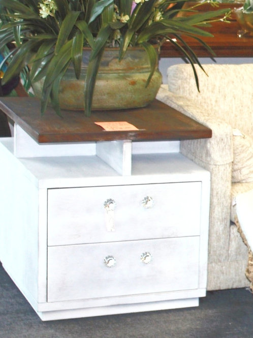 Farmhouse Nightstand /End Table w/ Crystal Knobs  (solid oak wood)