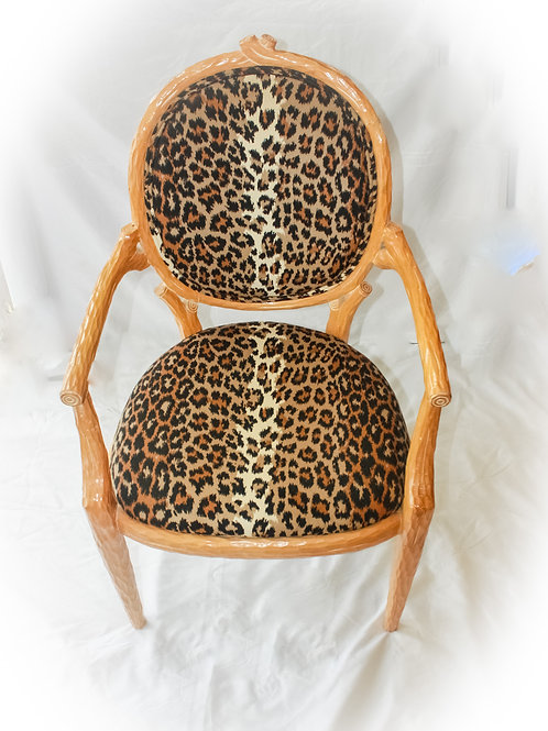 Leopard Print Wood Chairs - Set of 6