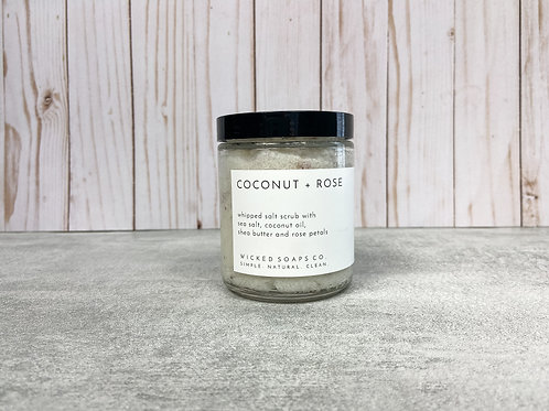 Coconut + Rose Whipped Salt Scrub by Wicked Soaps Co.
