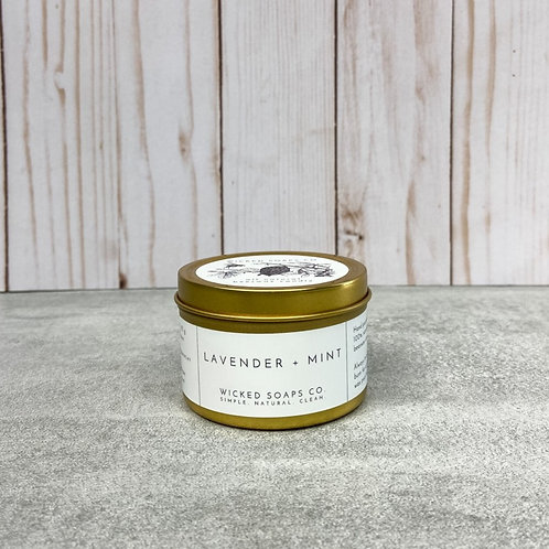 Lavender + Mint Beeswax Candle by Wicked Soaps Co.